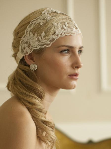 Ivory Split Lace Ribbon Wedding Headband with French Netting-Headband-Here Comes The Bling™