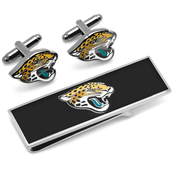 Jacksonville Jaguars Cufflinks and Money Clip Gift Set-Mens 3 Piece Gift Set-Here Comes The Bling™