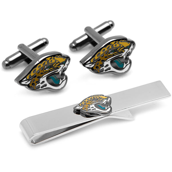 Jacksonville Jaguars Cufflinks and Tie Bar Gift Set-Mens 3 Piece Gift Set-Here Comes The Bling™
