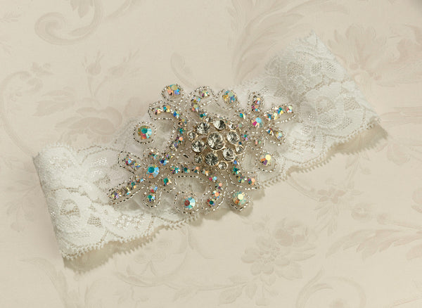 Jeweled Garter - Ivory-Garters-Here Comes The Bling™