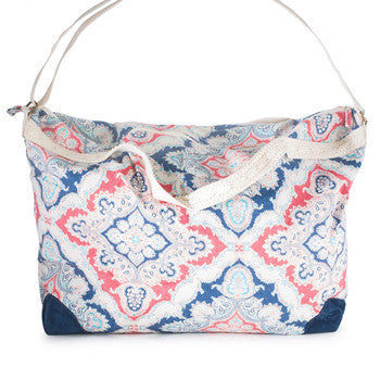 Karen Blue Multicolor Floral And Lace Duffle Bag-Tote Bags-Here Comes The Bling