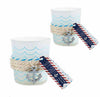 Nautical Frosted Glass Tea Light Holder With Anchor Charm (Set of 12)