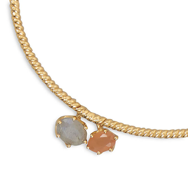 Labradorite and Peach Moonstone Charm Bracelet-Bracelets-Here Comes The Bling™