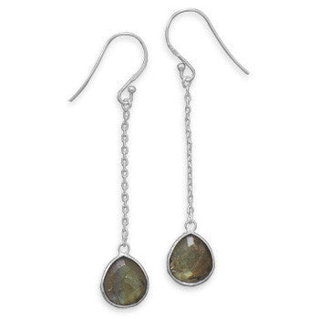 Labradorite Chain Drop Earrings-Earrings-Here Comes The Bling™