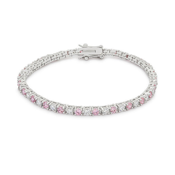 Lace Pink Cubic Zirconia Tennis Bracelet-Bracelets-Here Comes The Bling