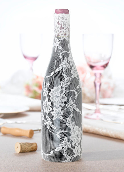Lace Wine Bottle Cover-Cream-Wine Accessories-Here Comes The Bling™