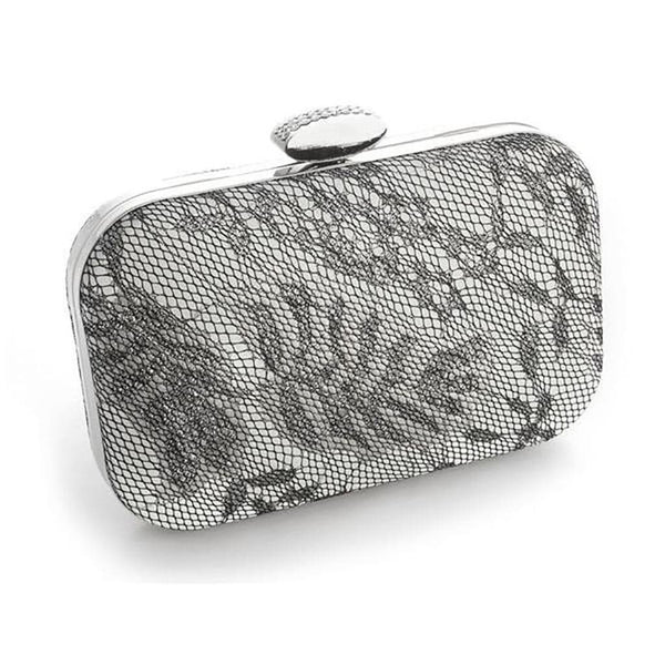 Lacey Evening Minaudiere <Silver>-Clutch-Here Comes The Bling™