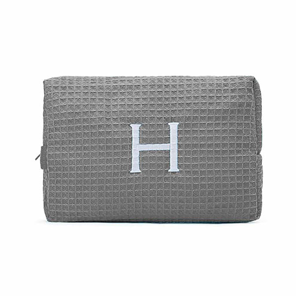 Large Cotton Waffle Cosmetic Bag in Gray-Pouch-Here Comes The Bling™