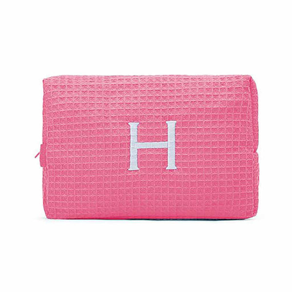 Large Cotton Waffle Cosmetic Bag in Hot Pink-Pouch-Here Comes The Bling™