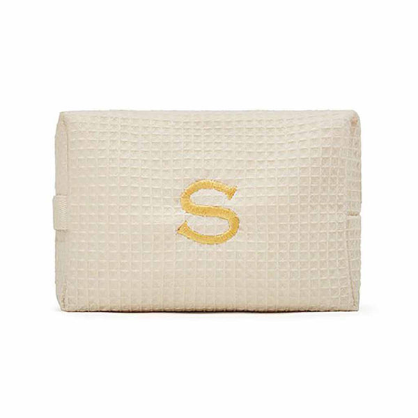 Large Cotton Waffle Cosmetic Bag in Ivory-Pouch-Here Comes The Bling™