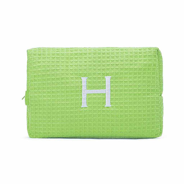 Large Cotton Waffle Cosmetic Bag in Lime Green-Pouch-Here Comes The Bling™