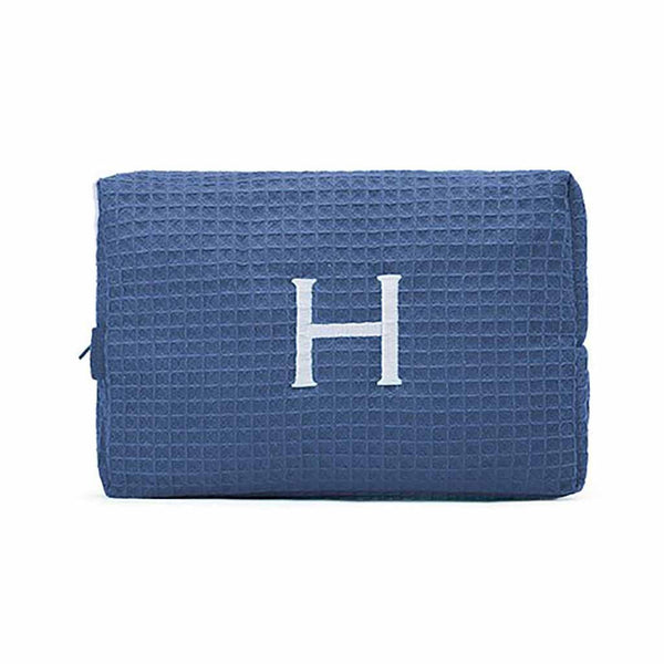 Large Cotton Waffle Cosmetic Bag in Navy Blue-Pouch-Here Comes The Bling™