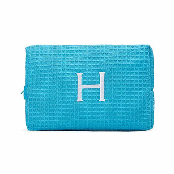 Large Cotton Waffle Cosmetic Bag in Turquoise-Pouch-Here Comes The Bling™