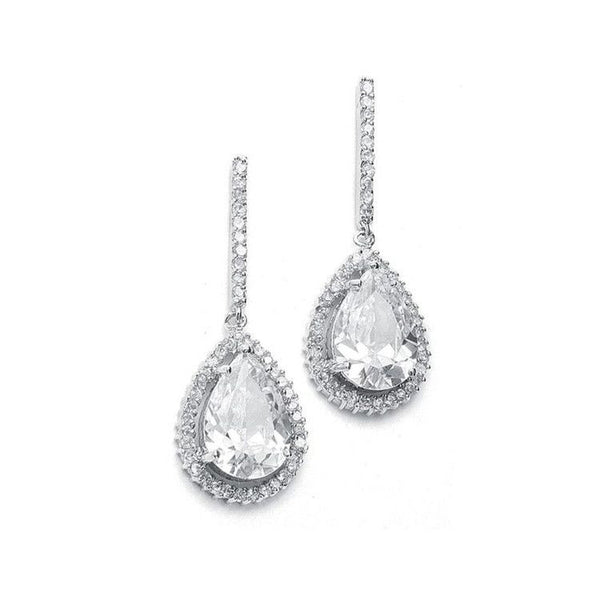Large CZ Pear Drop Bridal Earrings with Pave Frame-Earrings-Here Comes The Bling™