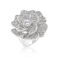 Large Flower Cubic Zirconia Cocktail Ring-Rings-Here Comes The Bling䋢