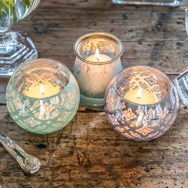 Large Glass Globe Votive Holder With Reflective Lace Pattern Pack of 4-Decor-Candle Holder-Here Comes The Bling™
