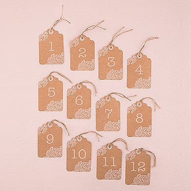 Large Kraft Tag with Vintage Lace White Print Numbers Numbers Pack of 12-Table Numbers-Here Comes The Bling™