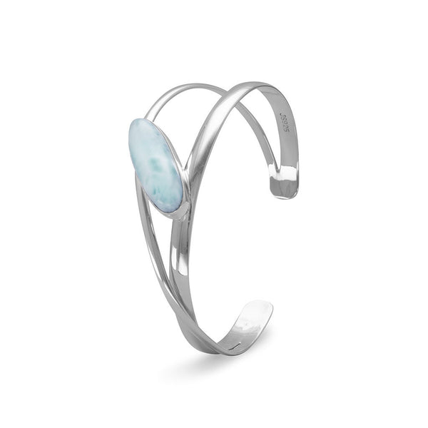 Larimar Abstract Sterling Silver Cuff Bracelet-Bracelets-Here Comes The Bling™