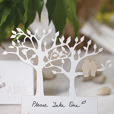 Laser Expressions Tree Silhouette With Owls Die Cut Card - White Pack of 12-Place Cards-Here Comes The Bling™
