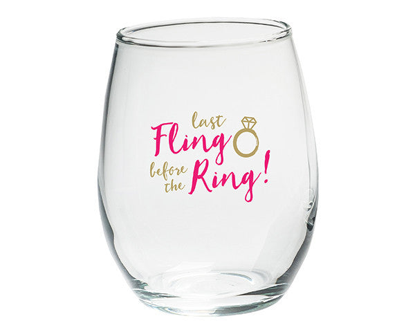 """Last Fling Before the Ring"" 15 oz. Stemless Wine Glasses - (Set of 4)-Stemless Glassware-Here Comes The Bling™"