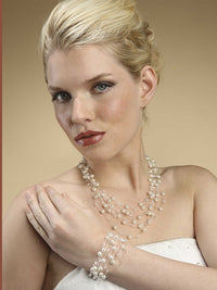 Lavish 6 Strand Crystal and Pearl Illusion Bracelet-Bracelets-Here Comes The Bling™