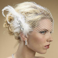 Lavish Swarovski Crystal and Pearl Feather Fascinator-Fascinators-Here Comes The Bling™