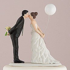 """Leaning in for a Kiss - Balloon"" Wedding Cake Topper ( Select From 7 Hair Colors )-Cake Toppers-Here Comes The Bling™"