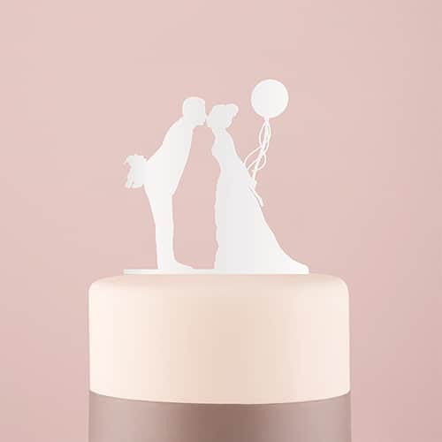 """Leaning In"" Silhouette Acrylic Cake Topper ( Available in Black or White)-Cake Toppers-Here Comes The Bling™"