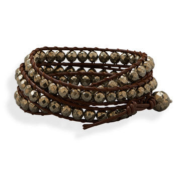Leather and Pyrite Wrap Fashion Bracelet-Bracelets-Here Comes The Bling™