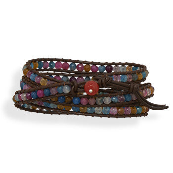 Leather Wrap Bracelet with Agate-Bracelets-Here Comes The Bling™