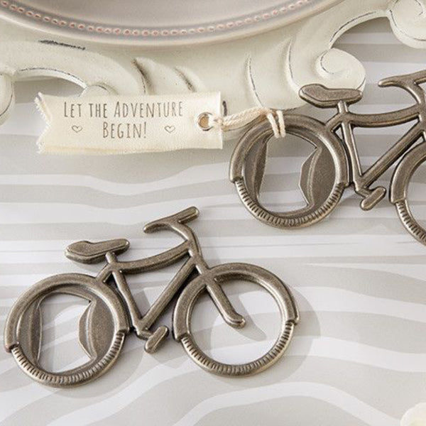 """Let's Go On an Adventure"" Bicycle Bottle Opener (Set of 6)-Favors-Bottle Opener-Here Comes The Bling™"
