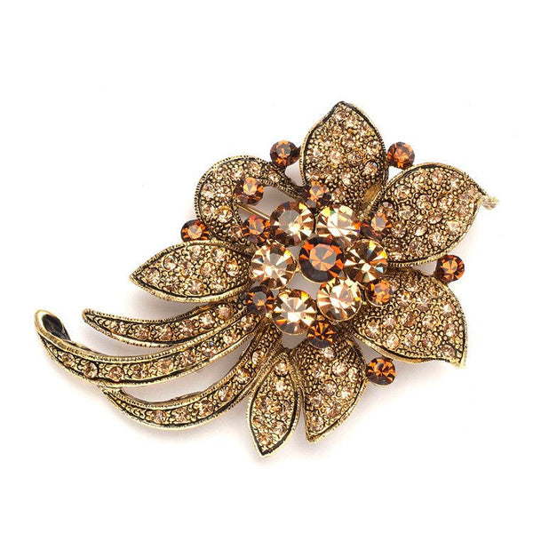 Light Colorado Topaz Floral Special Occasion Pin-Brooches-Here Comes The Bling™