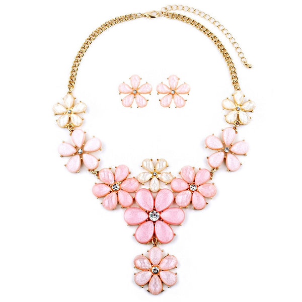 Light Pink Flower Power Statement Necklace Set-Sets-Here Comes The Bling™