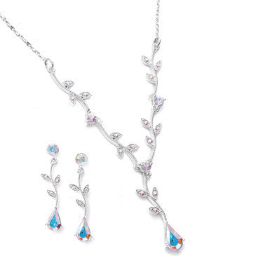 Light Sapphire Blue Vine Drop Necklace Set-Sets-Here Comes The Bling™