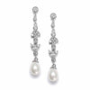 Linear Freshwater Pearl Vintage Bridal Earrings-Earrings-Here Comes The Bling™
