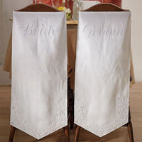 Linen Chair Banners with Embroidered Bride & Groom Inscription-Decor-Chairs-Here Comes The Bling™