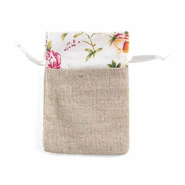 Linen Drawstring Bag With Floral Print Trim (Pack of 12)-Favors-Bags-Here Comes The Bling™
