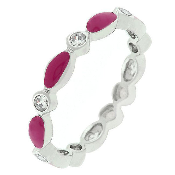Link Enamel Stacker Ring in Fuchsia-Rings-Here Comes The Bling™