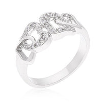 Linked Cubic Zirconia Hearts Ring-Rings-Here Comes The Bling™