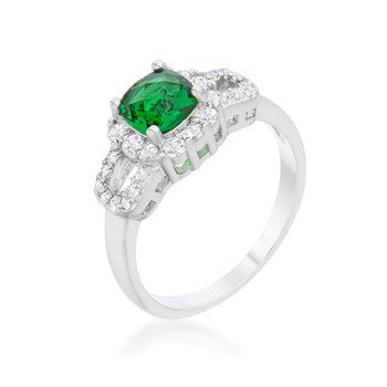 Liz 1.1ct Emerald CZ Rhodium Classic Ring-Rings-Here Comes The Bling™