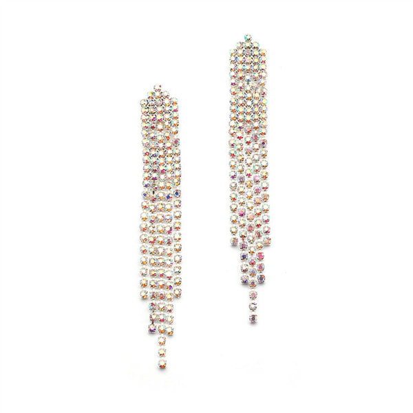 Long AB Rhinestone Earrings for Prom or Homecoming-Earrings-Here Comes The Bling™