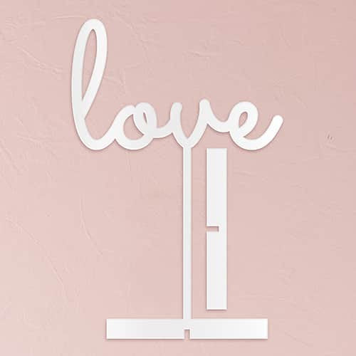 Love Acrylic Sign ( Available in Black or White)-Cake Toppers-Here Comes The Bling™