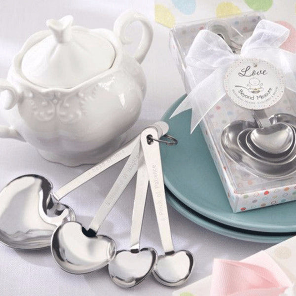 """Love Beyond Measure"" (Baby Shower) Stainless-Steel Measuring Spoons-Favors-Kitchen Tools-Here Comes The Bling™"