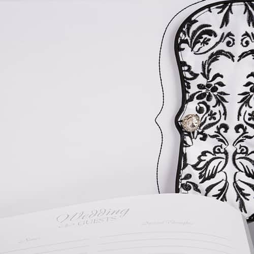 Love Bird Damask - Black and White Guest Book