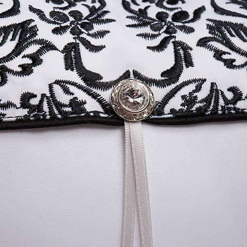 Love Bird Damask - Black and White Ring Pillow-Ring Pillow-Here Comes The Bling™
