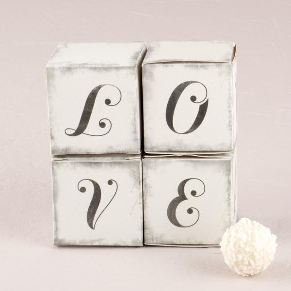 """LOVE"" Cube Favor Boxes with Charming Aged Print ( Sold in Sets of 10 )-Favors-Boxes-Here Comes The Bling™"
