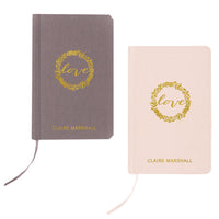 """love"" Gold Embossed Linen Journal-Journals-Here Comes The Bling™"