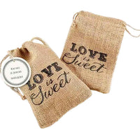 """Love is Sweet"" Burlap Drawstring Favor Bag (Set of 12)-Favors-Bags-Here Comes The Bling™"