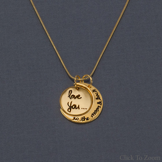 Love You to the Moon and Back Charm Necklace-Necklaces-Here Comes The Bling™