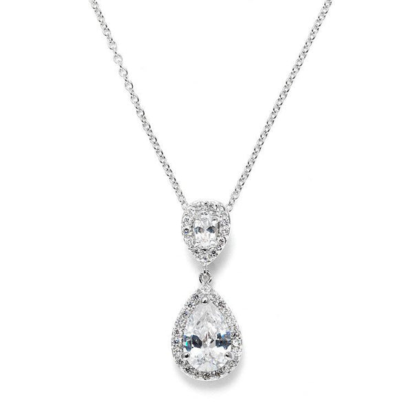 Lustrous Cubic Zirconia Teardrop Wedding Pendant-Necklaces-Here Comes The Bling™